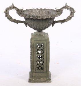 Cast Aluminum Garden Urn Fluted Bowl