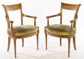Pair French Bleached Mahogany Arm Chairs 1940