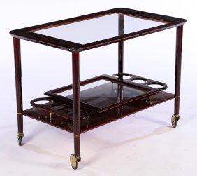 Italian Mid Century Modern Mahogany Bar Cart 1960