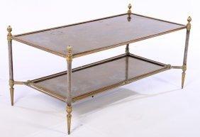 Bronze Steel Jansen Coffee Table Mirror Top 1950