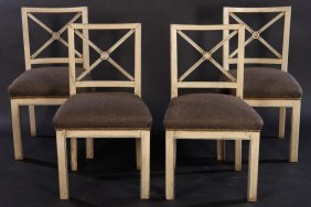 Quality Set Four Painted Regency Chairs 1940