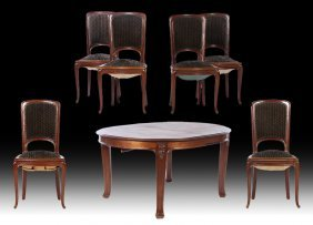 Set Of Six French Art Nouveau Dining Chairs 1915