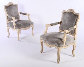 Pair Louis Xvi Upholstered Carved Open Arm Chairs