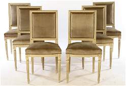 SET 6 FRENCH UPHOLSTERED DINING CHAIRS 1950