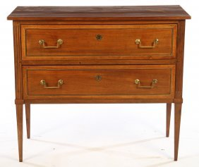 19th Cent. French 2 Drawer Mahogany Commode