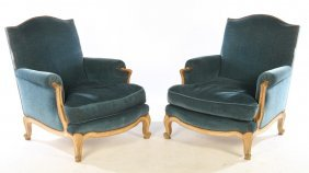 Pair Painted Upholstered Bergere Chairs 1920