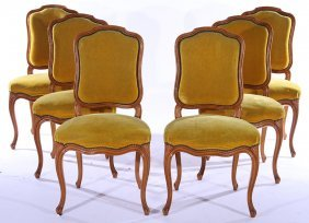 Set 6 Louis Xv Mahogany Carved Dining Chairs 1930
