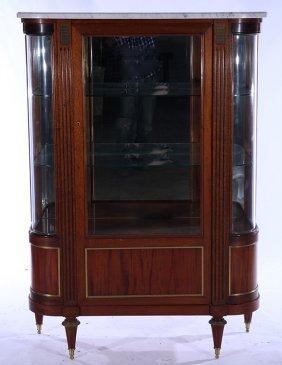 Mahogany Bronze Directoire Bowed Glass Vitrine