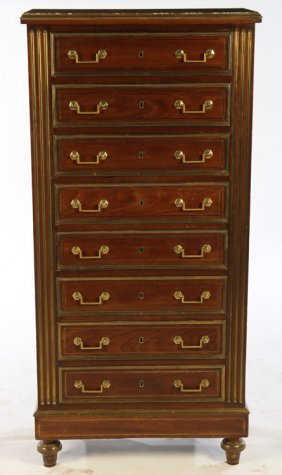 French Mahogany Brass Bound Marble Top Chest 1880