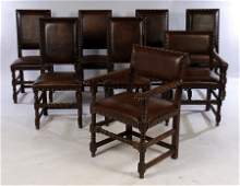 SET OF 8 OAK & LEATHER DINING CHAIRS C.1950