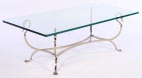 Nickel Bronze Swan Form Coffee Table Glass Top