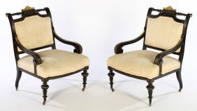 Pair 19th C. Aesthetic Movement Arm Chairs