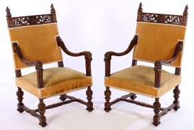 Pair Of Carved Walnut Open Arm Chairs C.1890