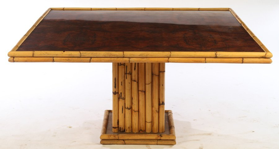 FRENCH BAMBOO BURL WALNUT DINING TABLE 1960