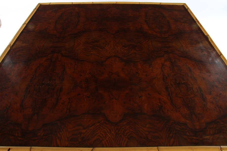 FRENCH BAMBOO BURL WALNUT DINING TABLE 1960 - 2