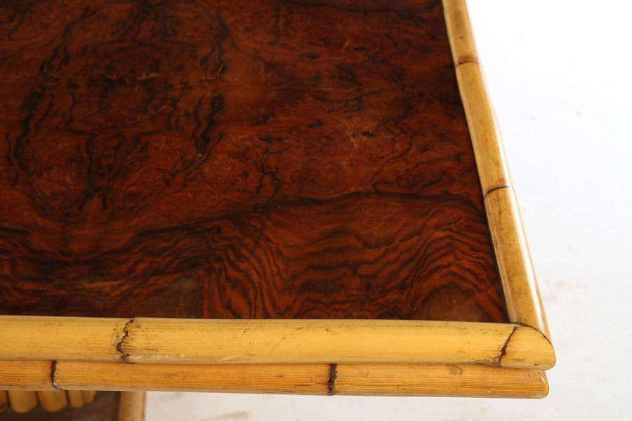 FRENCH BAMBOO BURL WALNUT DINING TABLE 1960 - 3