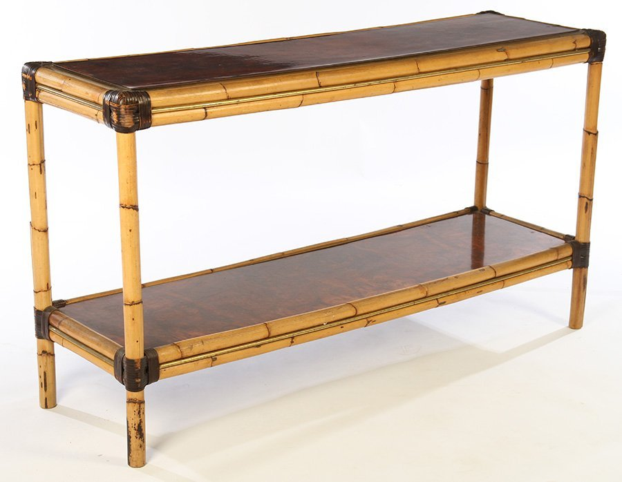 FRENCH BAMBOO BURL WALNUT CONSOLE TABLE