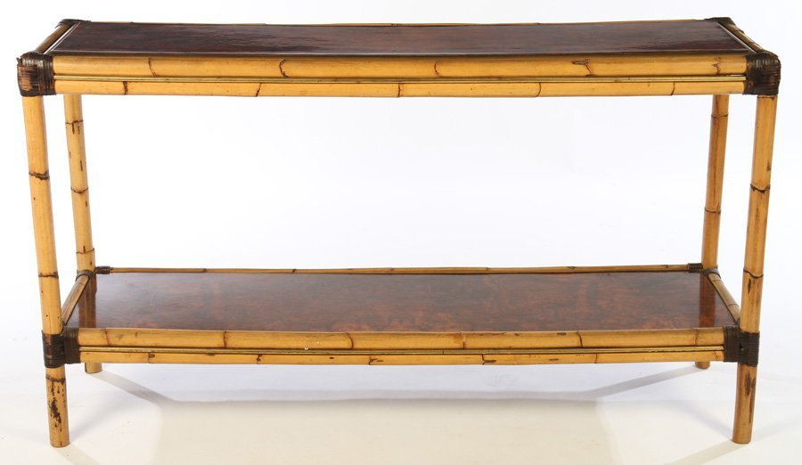FRENCH BAMBOO BURL WALNUT CONSOLE TABLE - 2