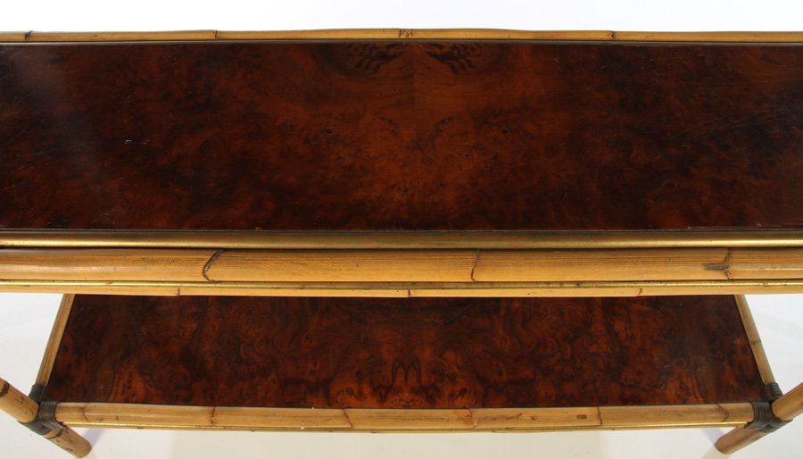 FRENCH BAMBOO BURL WALNUT CONSOLE TABLE - 3