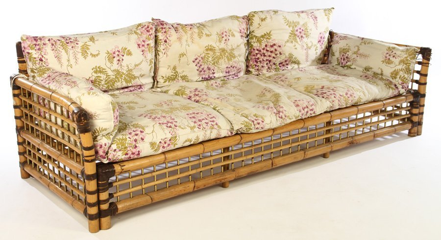 FRENCH BAMBOO SOFA BRASS PLATED 1960