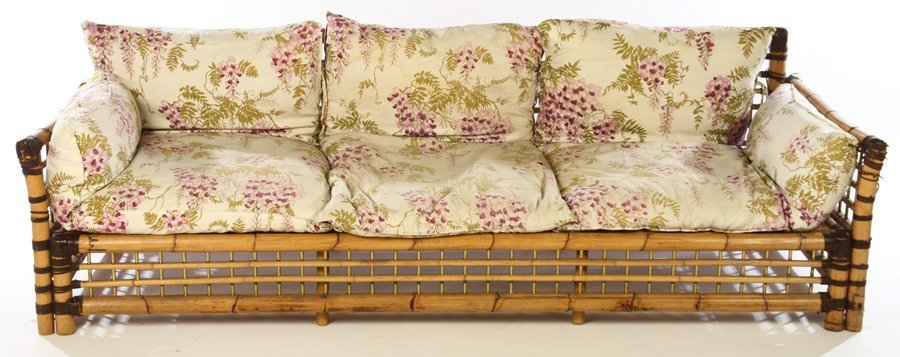 FRENCH BAMBOO SOFA BRASS PLATED 1960 - 2