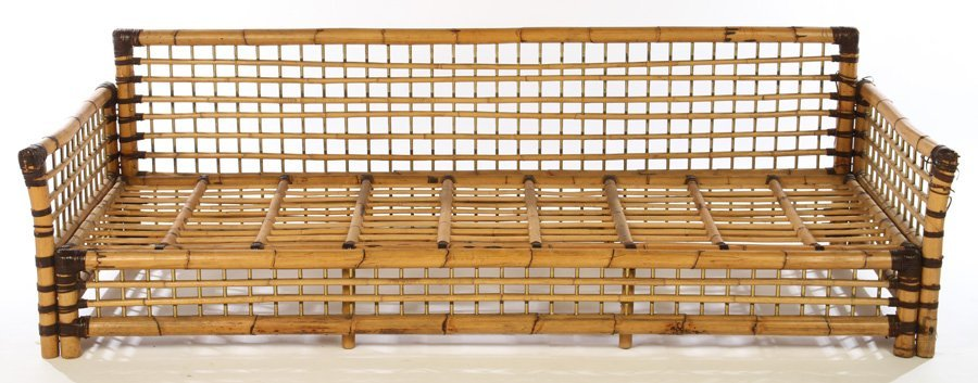 FRENCH BAMBOO SOFA BRASS PLATED 1960 - 3