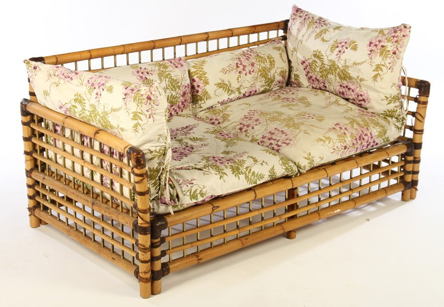 FRENCH BAMBOO SETTEE BRASS PLATED SPINDLES 1960