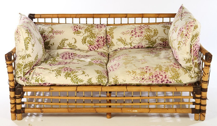FRENCH BAMBOO SETTEE BRASS PLATED SPINDLES 1960 - 2