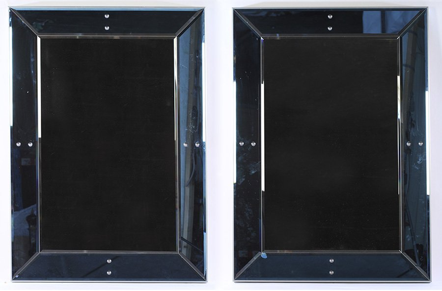 PAIR OF TWO COLORED BEVELED GLASS MIRRORS