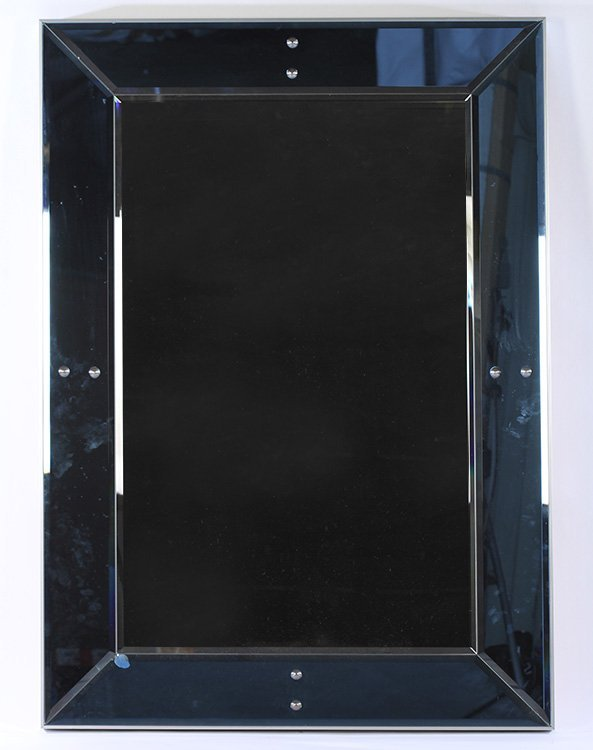 PAIR OF TWO COLORED BEVELED GLASS MIRRORS - 3