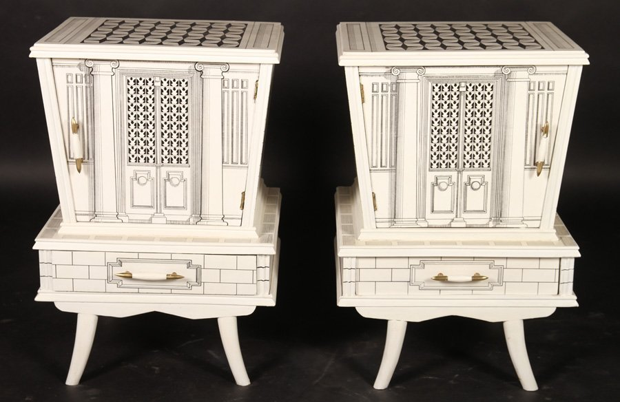 PAIR PAINTED STANDS MANNER OF FORNASETTI