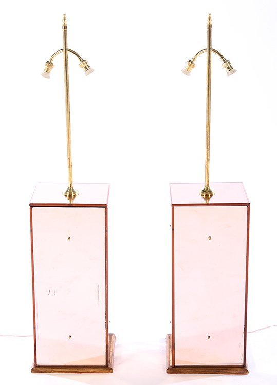 PAIR PINK MIRRORED TABLE LAMPS ON WOOD BASES