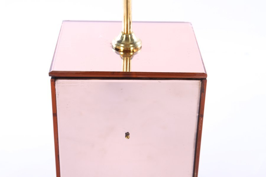 PAIR PINK MIRRORED TABLE LAMPS ON WOOD BASES - 3