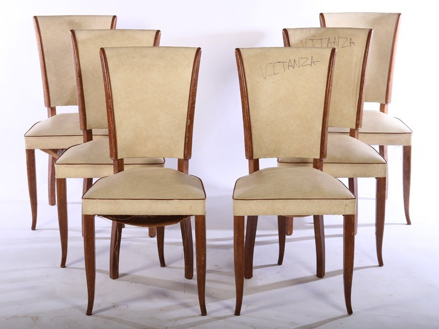 SET 6 FRENCH MID CENTURY DINING CHAIRS 1950