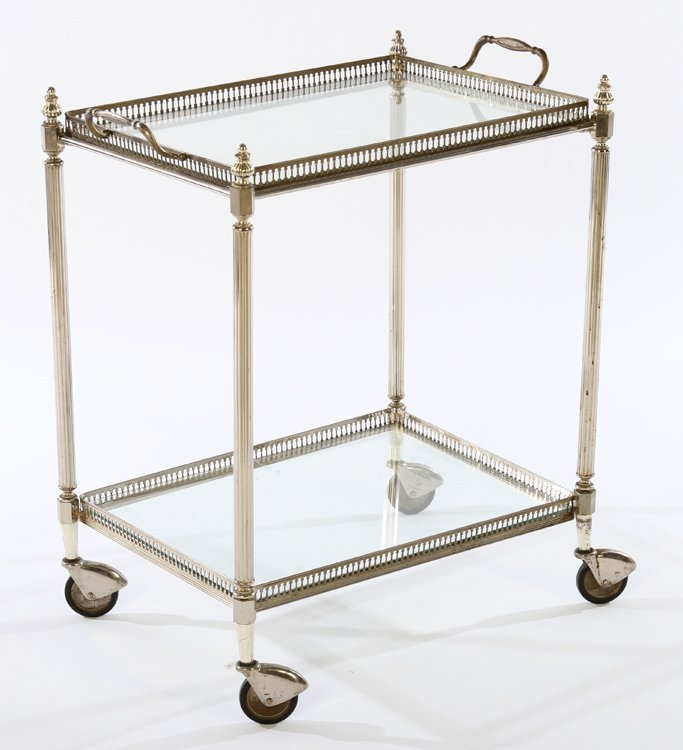 REGENCY NICKEL BRASS DRINKS SERVING CART 1950