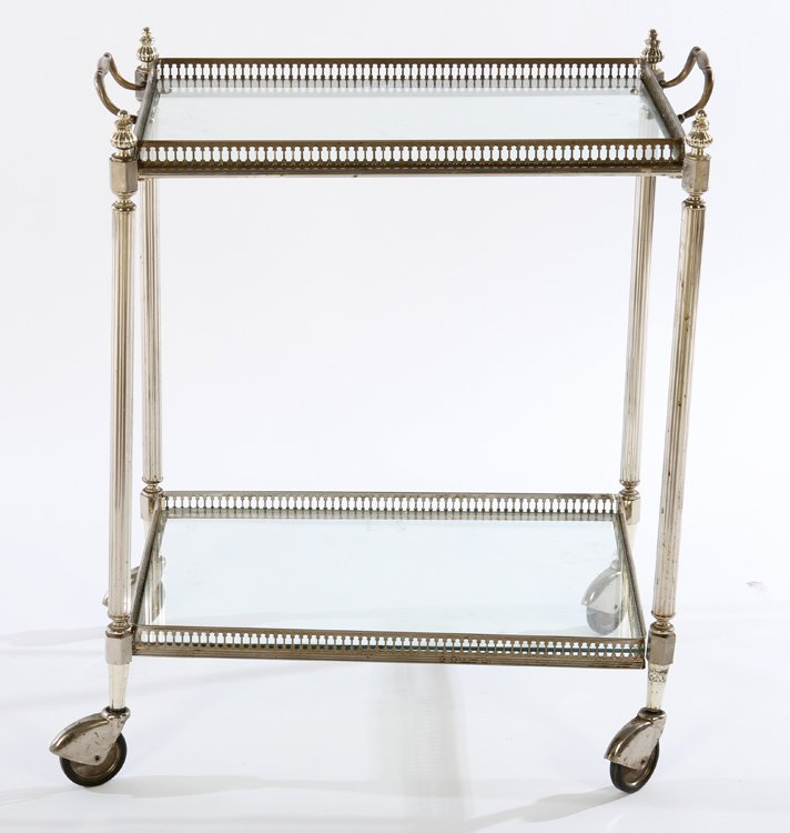 REGENCY NICKEL BRASS DRINKS SERVING CART 1950 - 2