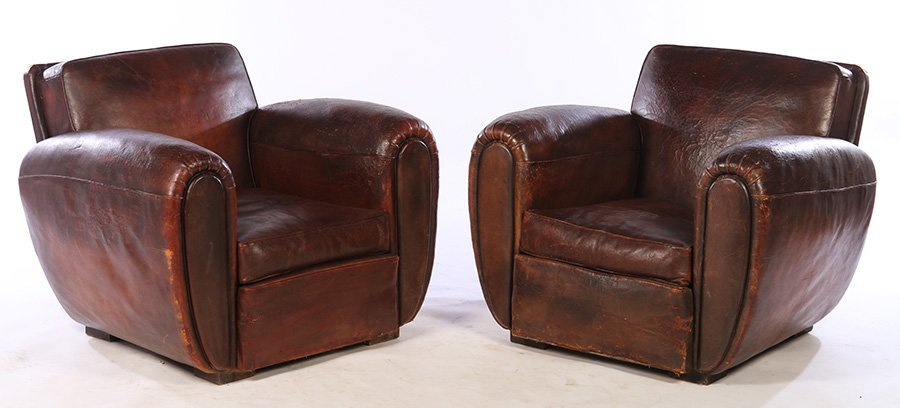 RARE PAIR FRENCH LEATHER CLUB CHAIRS 1940