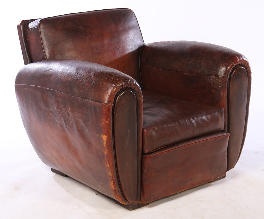 RARE PAIR FRENCH LEATHER CLUB CHAIRS 1940 - 2