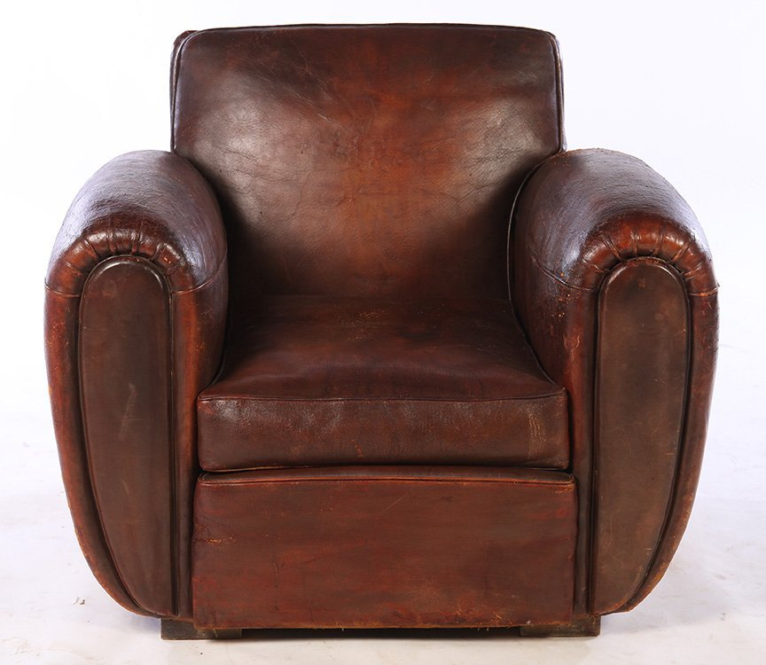 RARE PAIR FRENCH LEATHER CLUB CHAIRS 1940 - 3