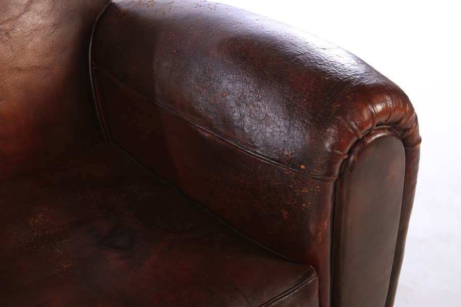 RARE PAIR FRENCH LEATHER CLUB CHAIRS 1940 - 4