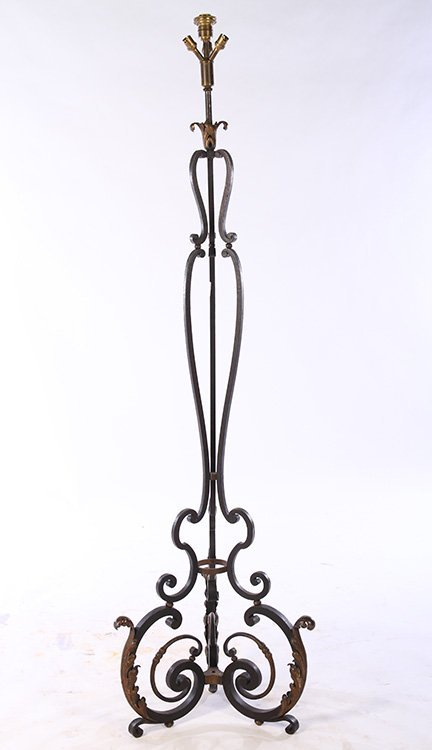 FRENCH WROUGHT IRON FLOOR LAMP RENE PROU C.1940