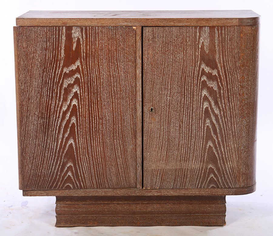 FRENCH CERUSED OAK BAR CABINET C.1940