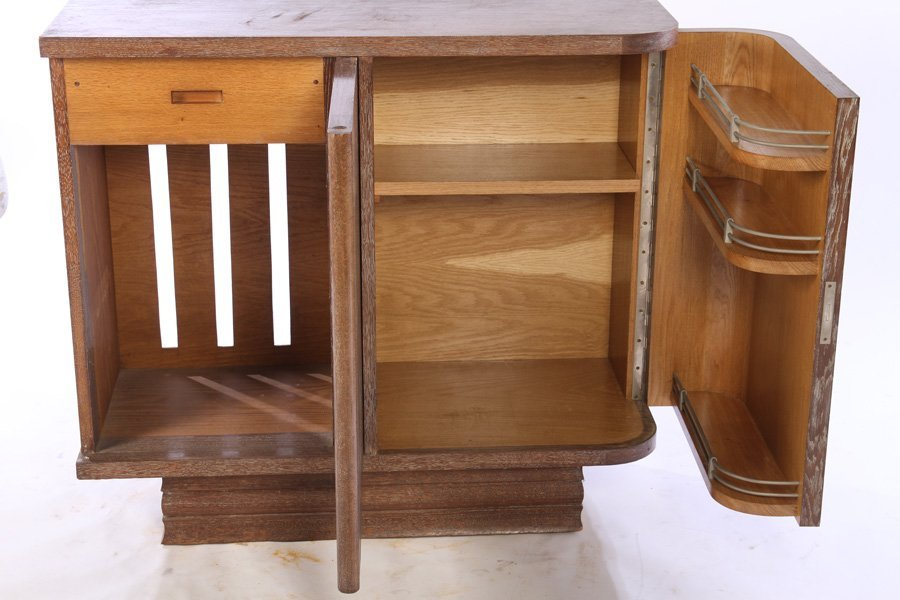 FRENCH CERUSED OAK BAR CABINET C.1940 - 4