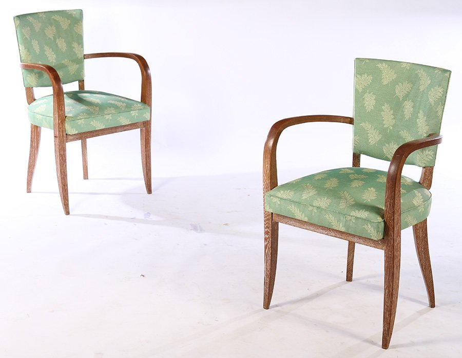 PAIR FRENCH CERUSED OAK ARM CHAIRS C.1940
