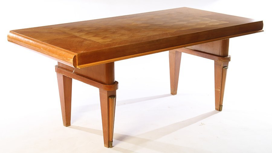 FRENCH DINING TABLE JULES LELEU INLAID TOP 1940