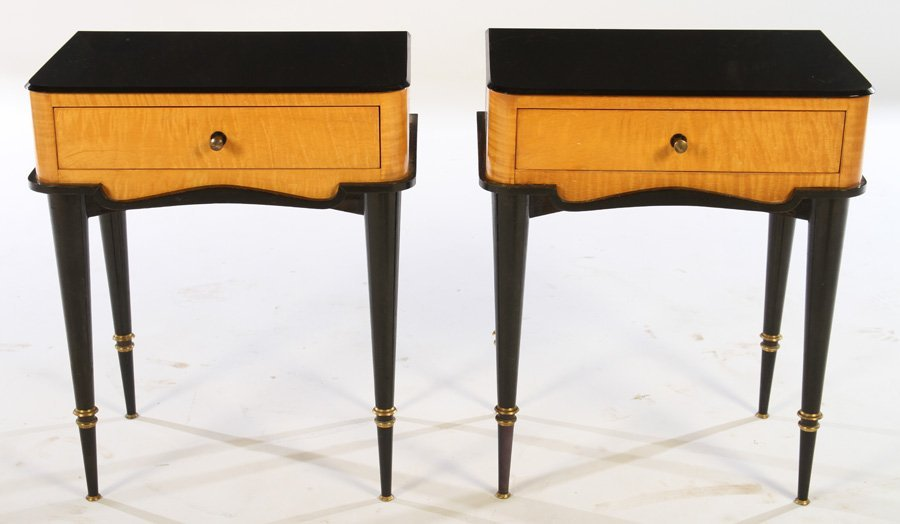 PAIR TIGER MAPLE ONE DRAWER STANDS 1950