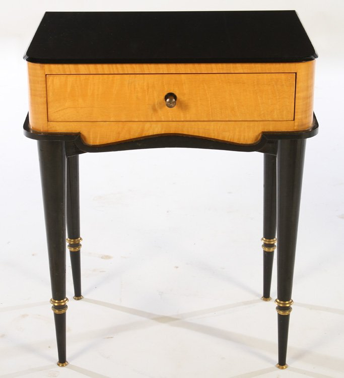 PAIR TIGER MAPLE ONE DRAWER STANDS 1950 - 2