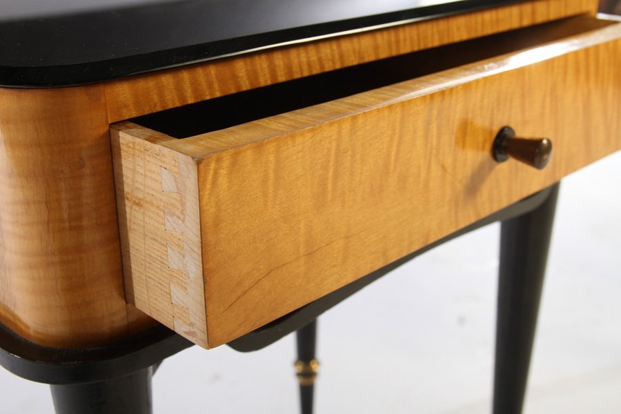 PAIR TIGER MAPLE ONE DRAWER STANDS 1950 - 4