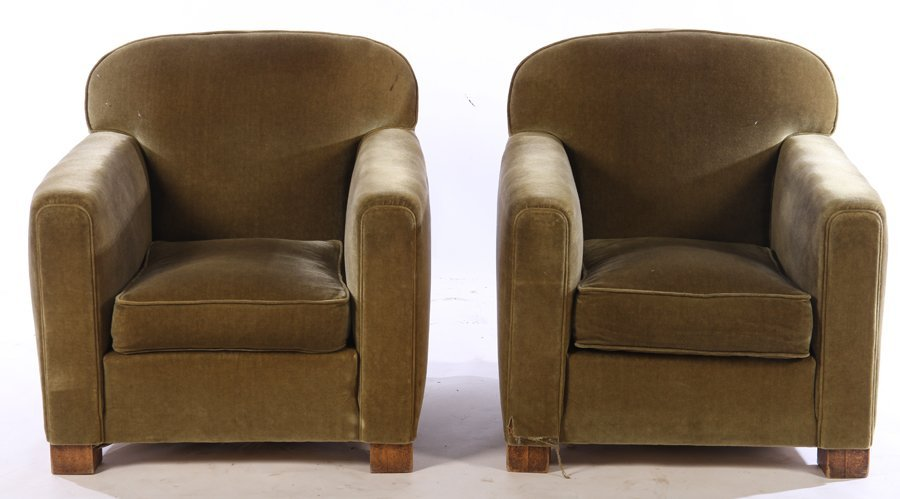 PAIR FRENCH ART DECO UPHOLSTERED CLUB CHAIRS 1940