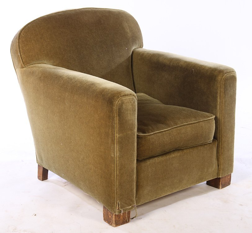 PAIR FRENCH ART DECO UPHOLSTERED CLUB CHAIRS 1940 - 2